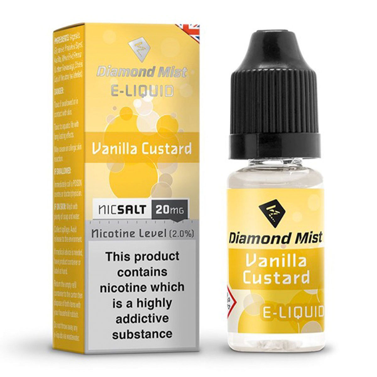 VANILLA CUSTARD NIC SALT BY DIAMOND MIST